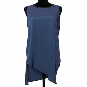 Ro & De Blue & Black Trim Sleeveless Blouse- Sz M
